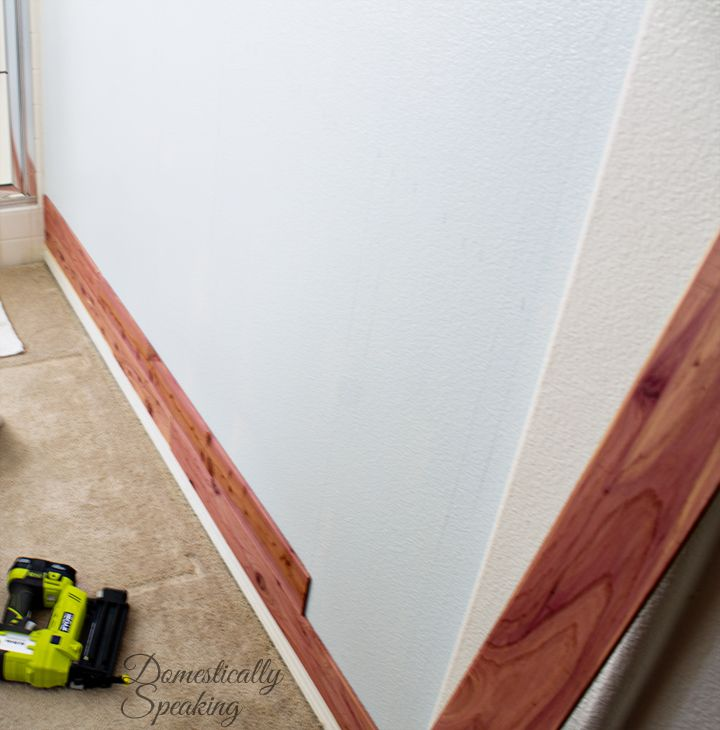 Cedar Accent Wall In Bathroom: Bathroom Wall, Cedar Planks, Plank