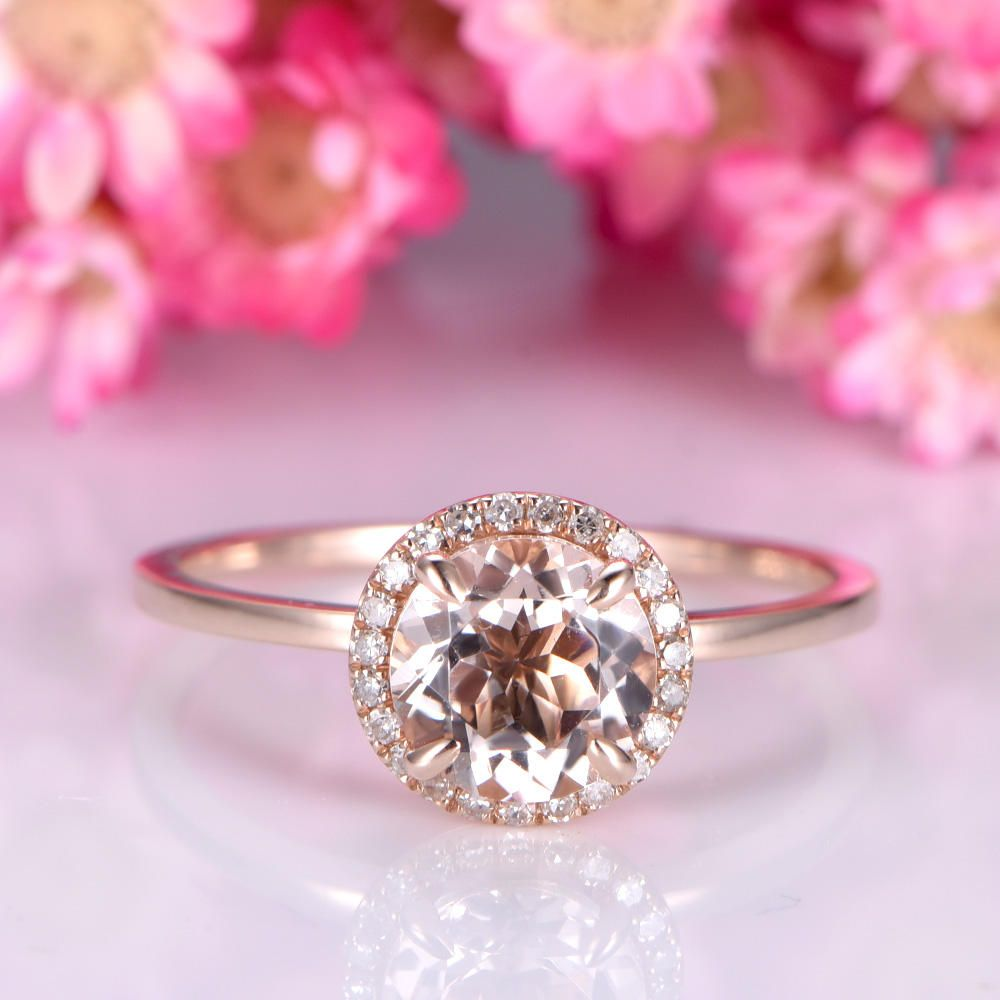 Morganite engagement ring 14k rose plain gold wedding band 7mm round ...
