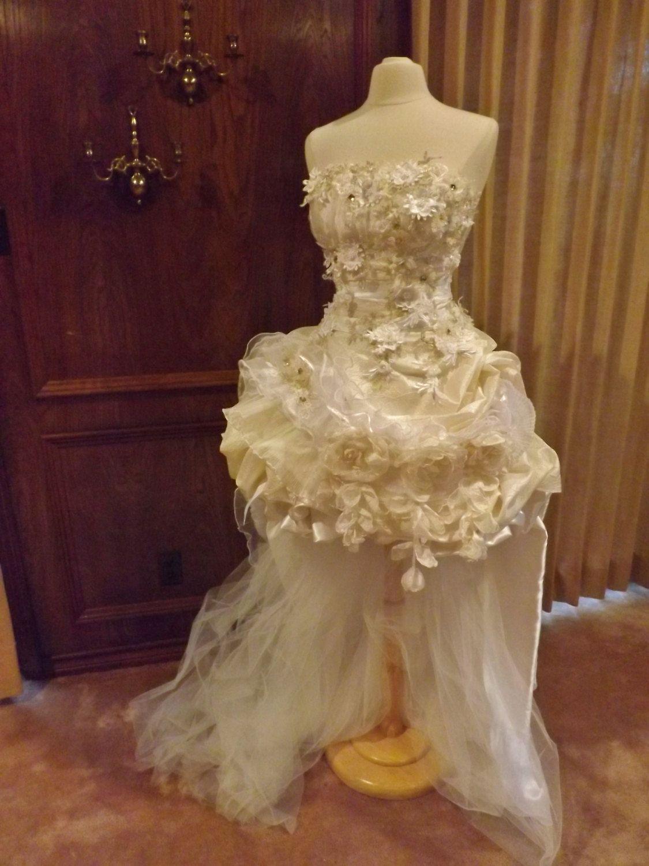 Handmade wedding dress mini plus tail beige roses embroidered