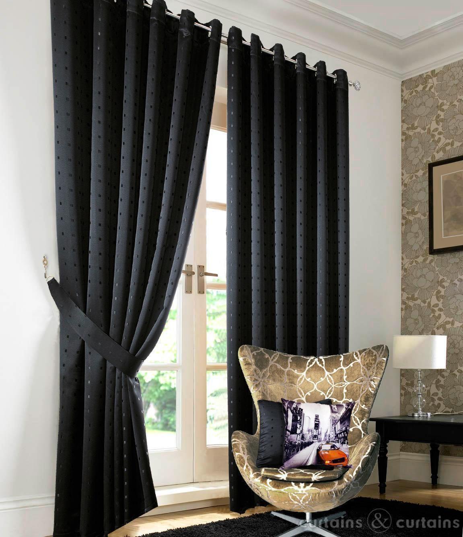 Heavy Jacquard Black Eyelet Lined Curtain