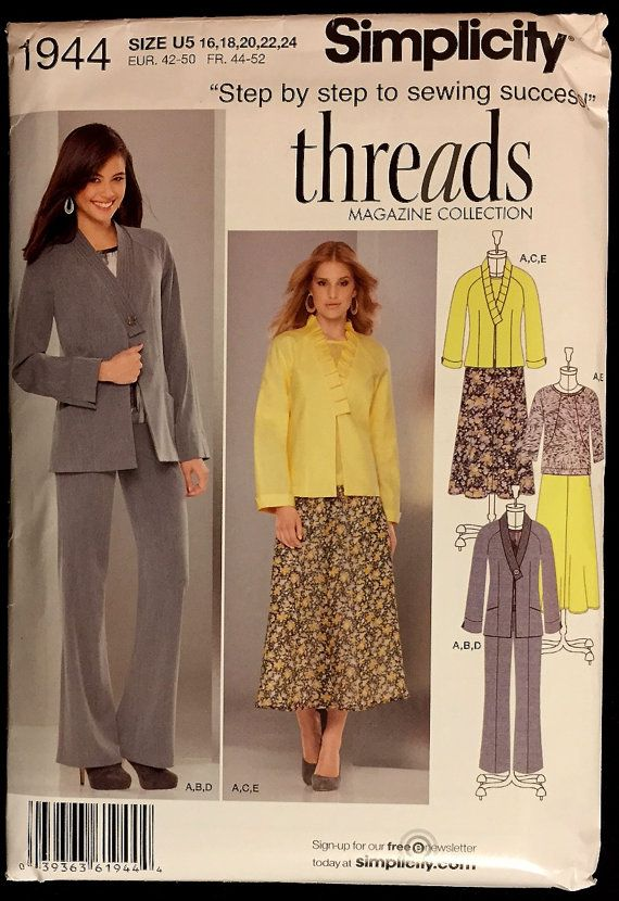 PLUS SIZE Sewing Pattern - Misses Jacket Pants Skirt Top THREADS ...