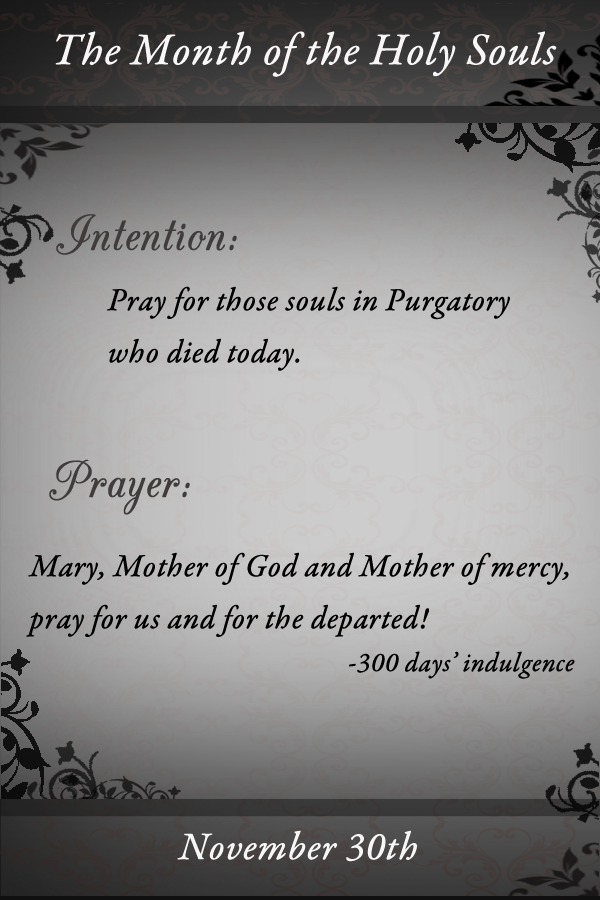 Pray for those souls in Purgatory who died today. Mary, Mother of God and Mother of mercy, pray for us and for the departed!