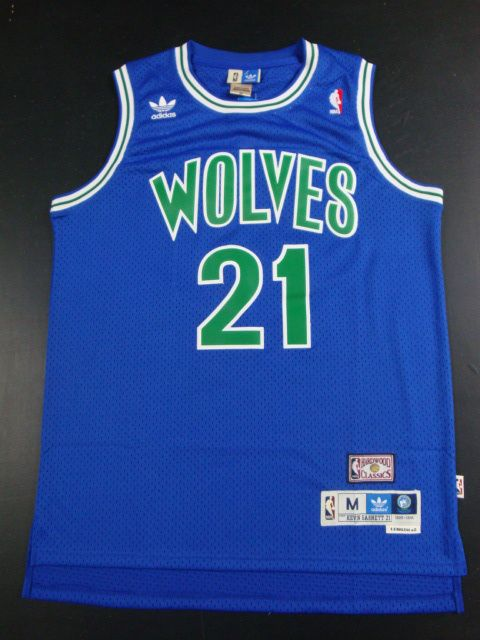 85ee89680 Adidas NBA Minnesota Timberwolves 21 Kevin Garnett Swingman Throwback Blue  Jersey
