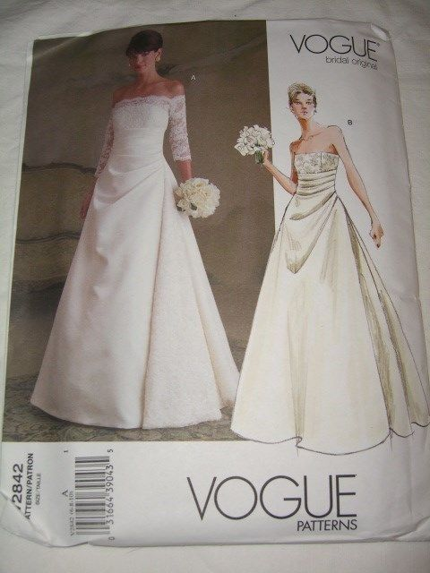Perfect Uncut Vogue Sz Formal Strapless Wedding Dress Pattern Bridal Gown