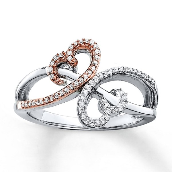 Open Hearts Ring 1 6 Ct Tw Diamonds Sterling Silver 10k Gold Fashion Rings Diamond Silver