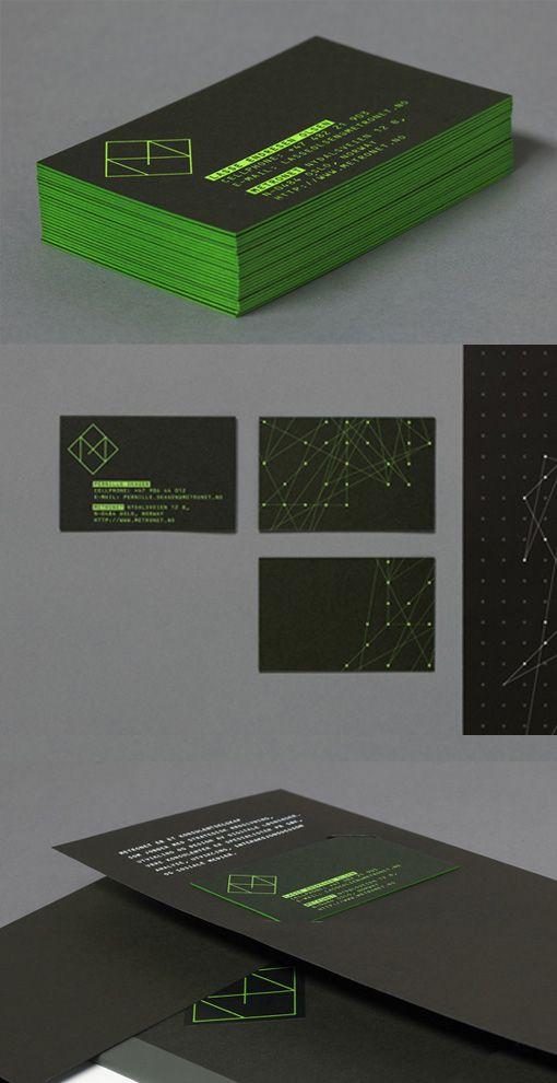 Bright Modern Neon Edge Painted Black Business Card Design Business Card Design Black Business Card Design Painted Business Cards