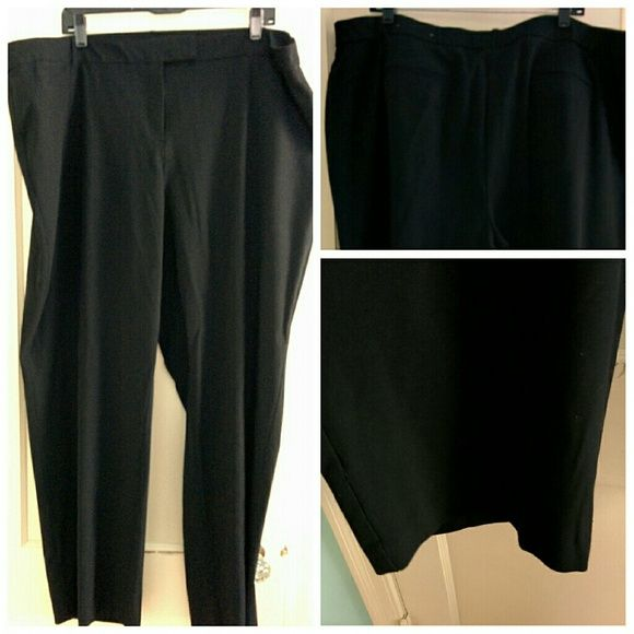 JM Black Plus Size Dress Pants Work Trousers 24W Worn once - ordered online. Not my correct size.  From jm collection at Macy's.  True black yet used flash to show details in first picture  Great condition and quality pant JM Collection Pants Straight Leg