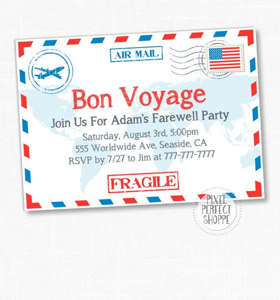 Travel  Farewell Party Invitation Bon By Pixelperfectshoppe