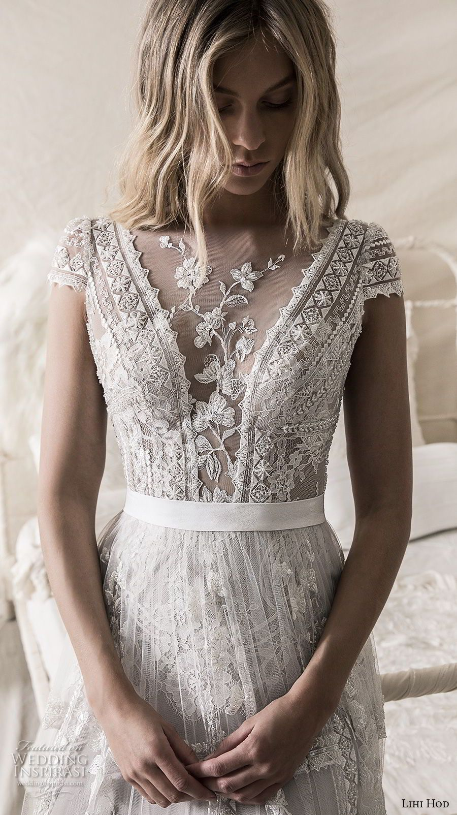 74c9430dc84 lihi hod 2018 bridal cap sleeves illusion jewel deep v neck heavily  embellised bodice romantic bohemian