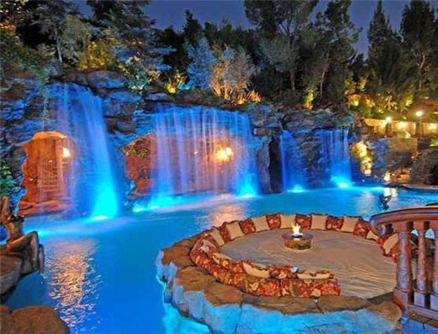 Bon Amazing Pools With Waterfalls Ideas Pool Grotto Bridge Seating Area