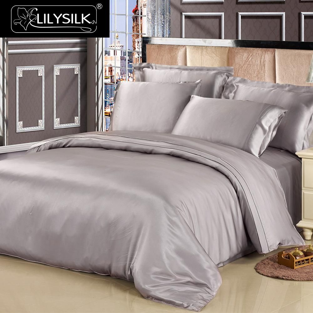 Lilysilk 100 Pure Mulberry Silk Duvet Cover 19mm Seamless Solid Color Twin Full Queen King