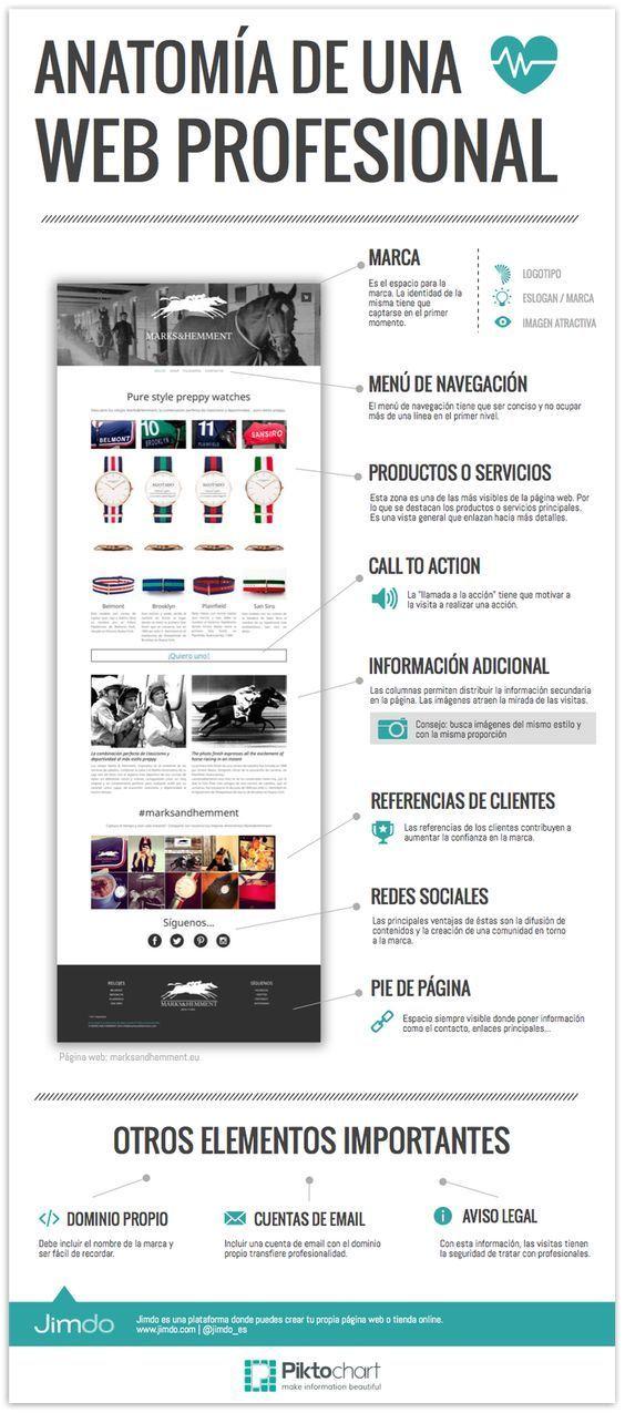 Anatomía de una web profesional - Infografía. Secciones que debemos ...