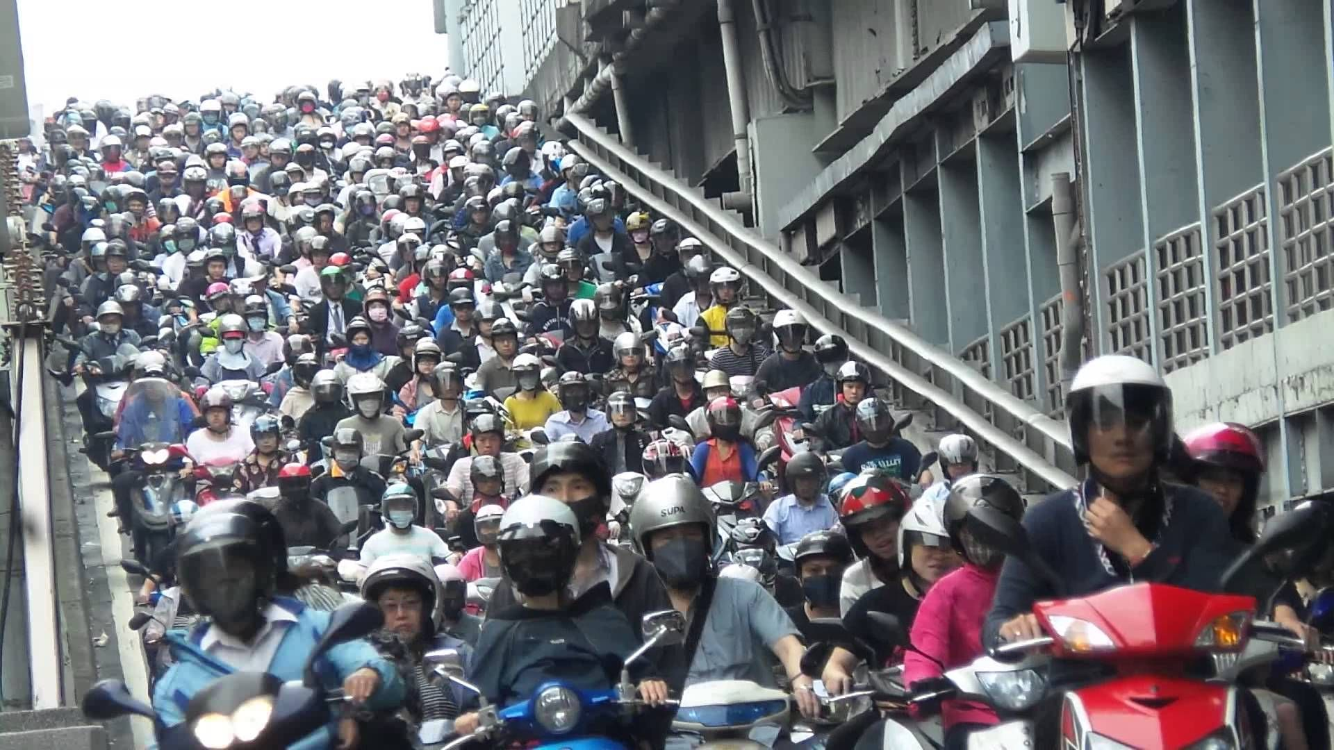 Incredibly Heavy Scooter Traffic During a Morning Rush Hour in Taiwan
