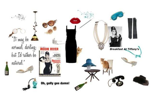 """Breakfast at Tiffany's inspiration"" by mariyushka ❤ liked on Polyvore featuring Moschino, Yves Saint Laurent, LK Designs, Dale Tiffany, Pier 1 Imports, Tiffany & Co., I Love Living, Givenchy and Boucheron"