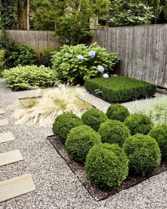 minimalistischer garten design immergrüne sträucher künstlerisch - moderner vorgarten mit kies