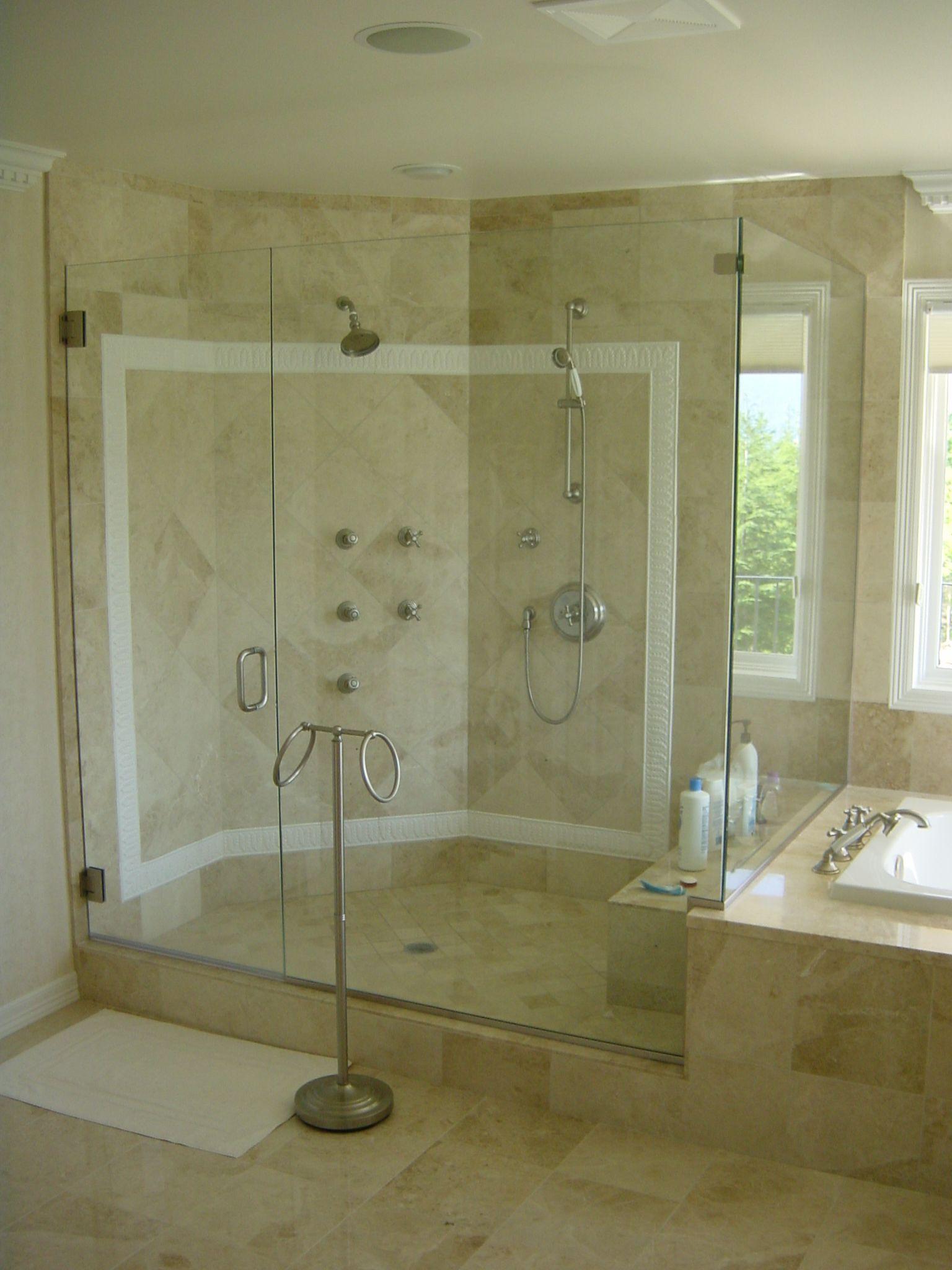 Frameless Glass Hinged Corner Shower Door & Shower Enclosure ...