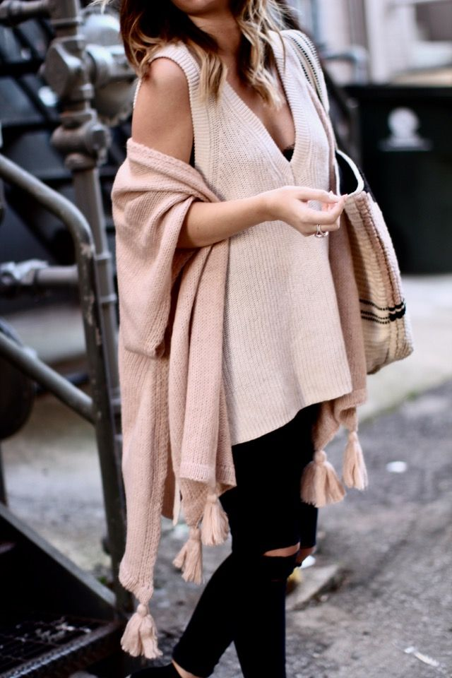 Creamy neutrals for Valentine's Day via For All Things Lovely | Top: Free People | Tassel Wrap: Sole Society | Bralette: Anine Bing | Denim: J Brand | Booties: Sole Society | Tote: Sole Society | Sunglasses: Cèline