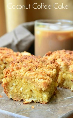 Coconut Coffee Cake. Amazing soft sour cream coffee cake that is bursting with fresh coconut flavors throughout. | from willcookforsmiles.com