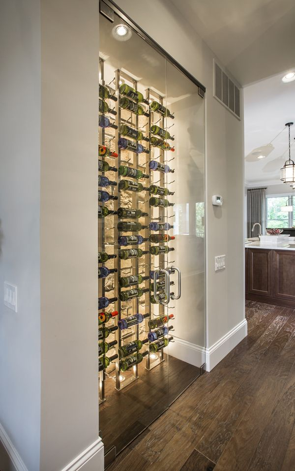 Celesta French Doors Used For A Wine Cabinet Featuring Clear Gl And Brushed Nickel Finish
