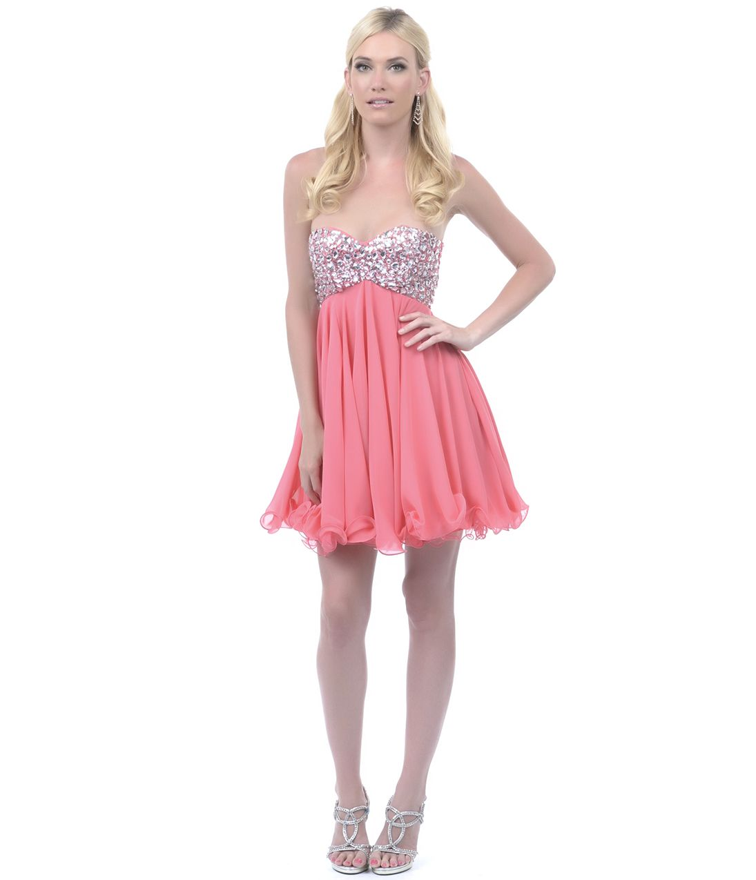 Coral sequin beaded strapless short homecoming dress homecoming