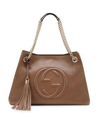 1c6ac5c36 Gucci Soho Leather Medium Chain-Strap Tote, Black on shopstyle.com ...