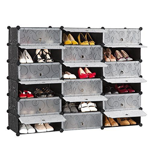 Chaussures 30 Shoes Rack Etagere A Chaussures Diy Rangement Plastique Salon Noir Et Blanc