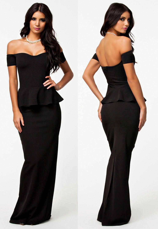 women summer sexy black peplum maxi dress drop shoulder long