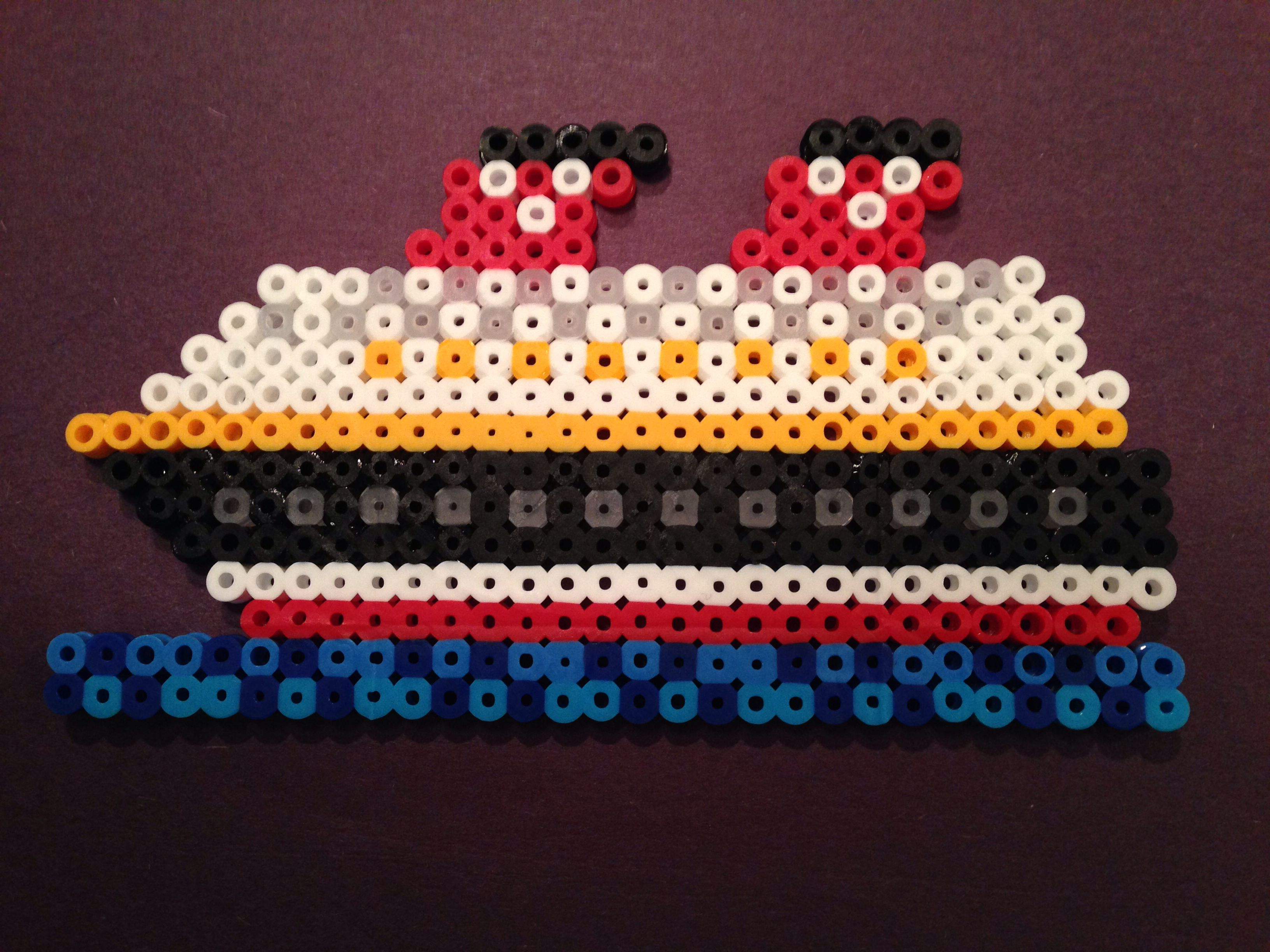 disney cruise ship made with perler beads