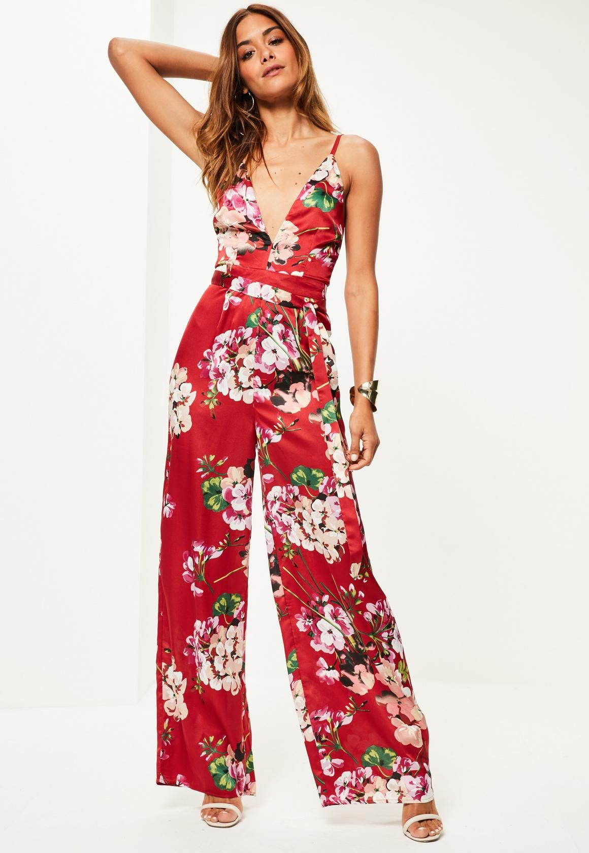 26891d7bcf Missguided - Red Floral Print Silky Strappy Jumpsuit