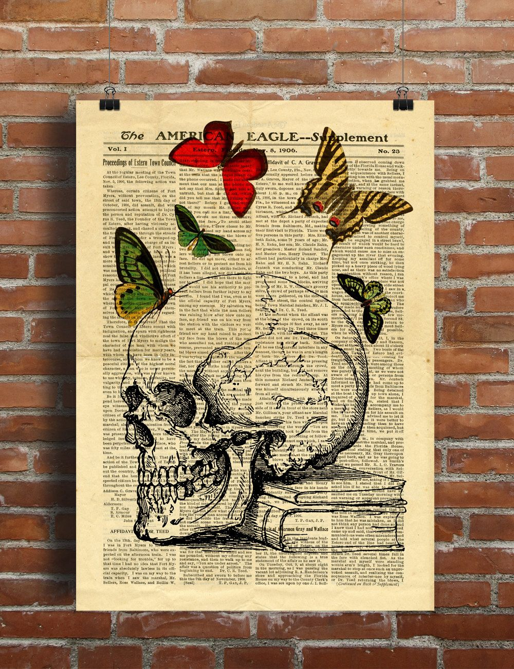 Human Anatomy Skull Butterfly Collage Old Newspaper Printable Poster ...