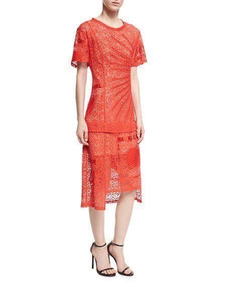 d690c87460d Carlotta Short-Sleeve Lace Midi Dress by Stella McCartney at Neiman Marcus