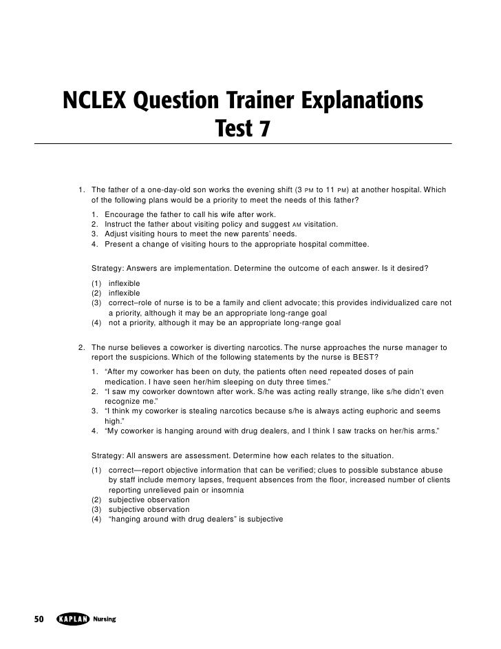 kaplan-nclex-sample-exam-7 by Think RN via Slideshare Nursing - safety report sample