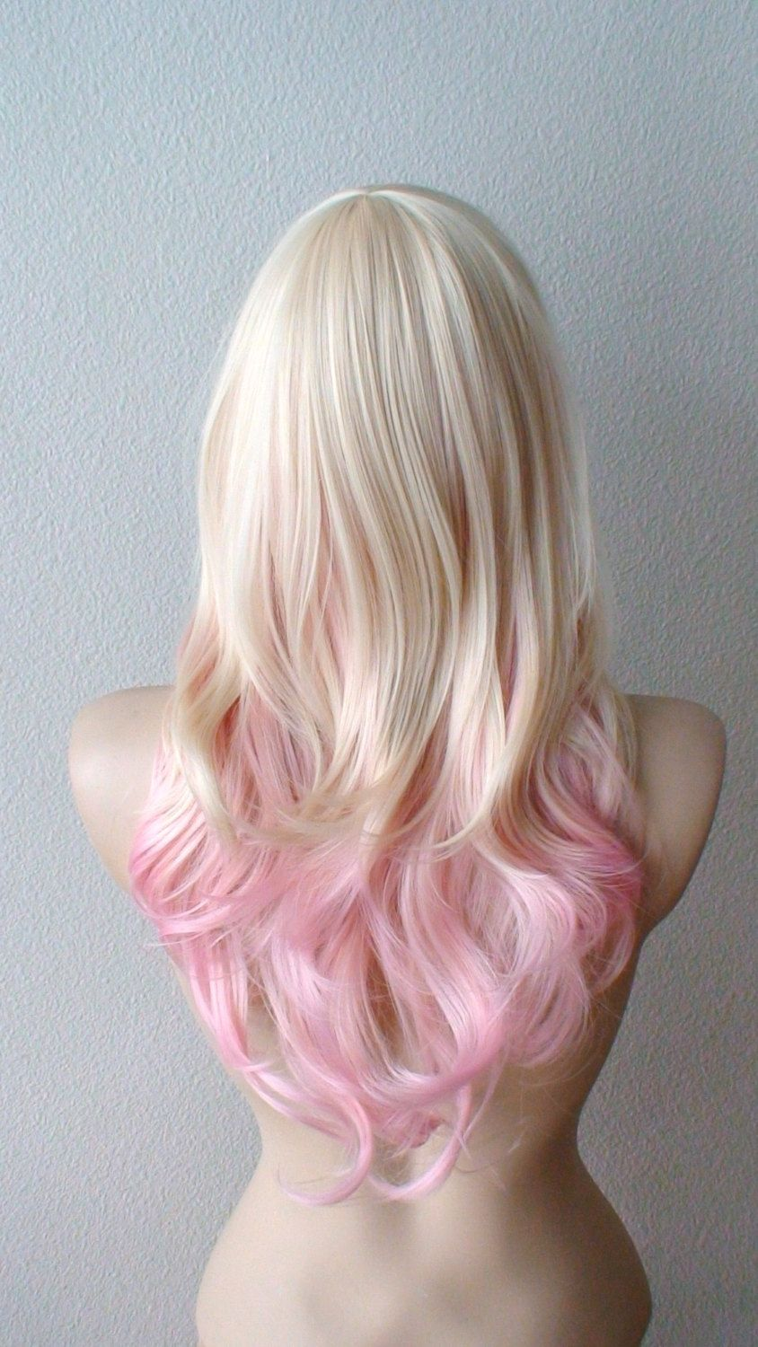 blonde pink ombre wig. pastel