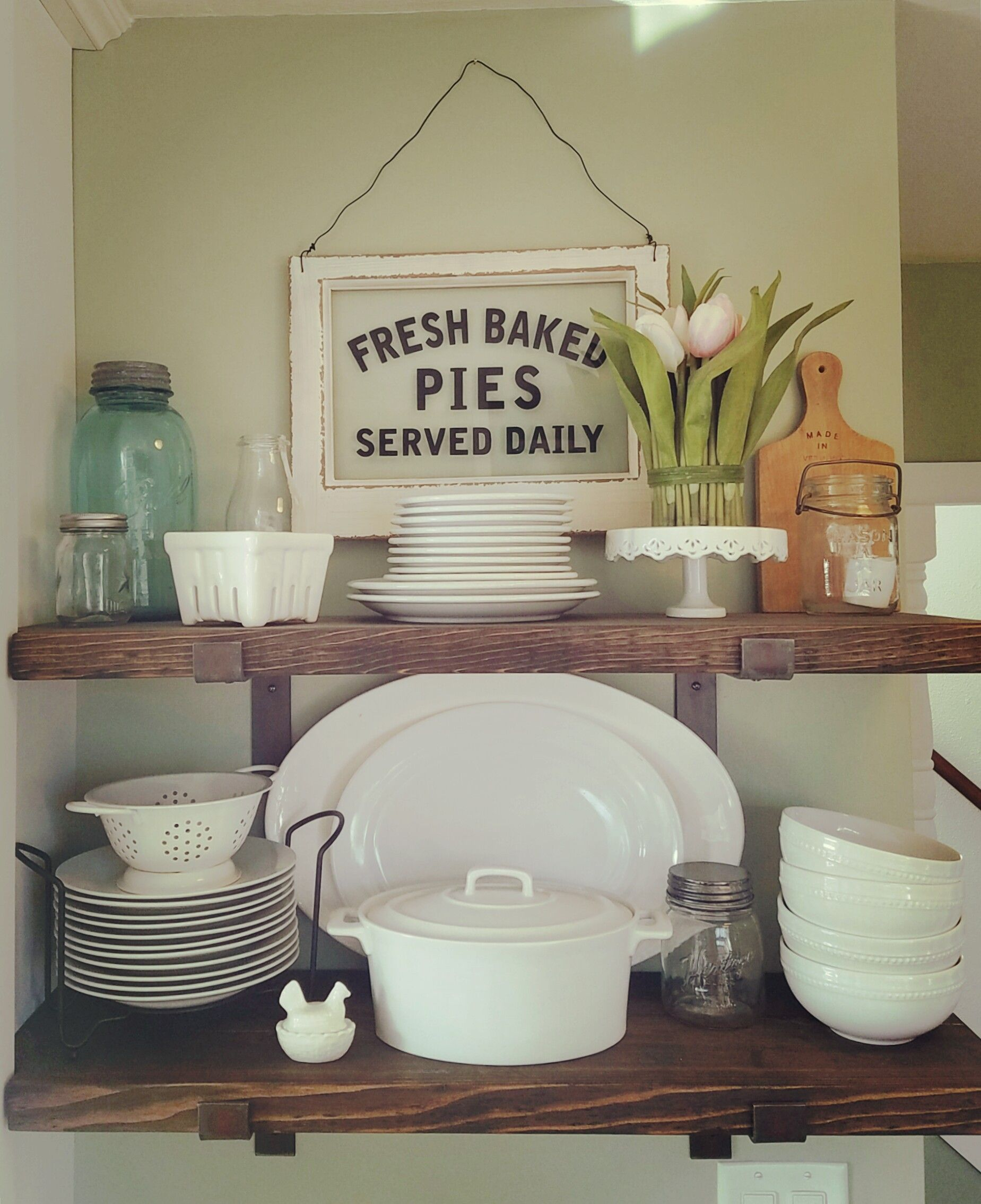 Farmhouse kitchen spring shelves white dishes mason jars fresh