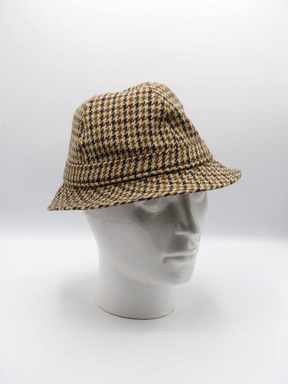 Vintage Christys of London Tweed Herringbone Trilby Type Mens Hat, Vintage Mens Accessory, Sherlock Holmes Tweed Hat, Walking Hat