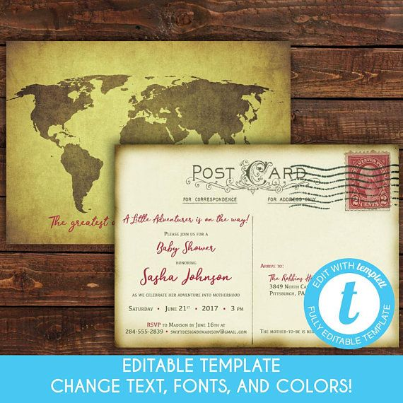 37b2cde0069 Vintage Travel Postcard Baby Shower Invitation