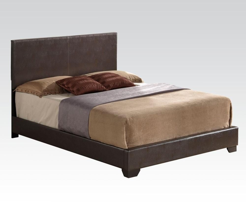 acme ireland iii eastern king bed panel brown pu 14367ek king