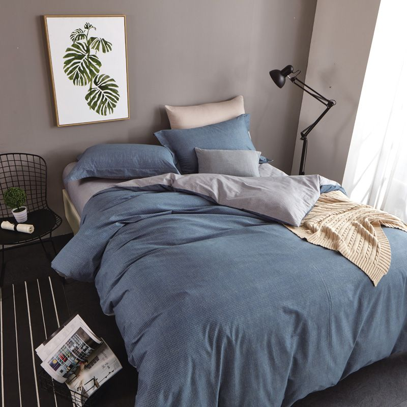 Simple Plain Blue And Grey Bedding Set Queen Size Duvet Covers
