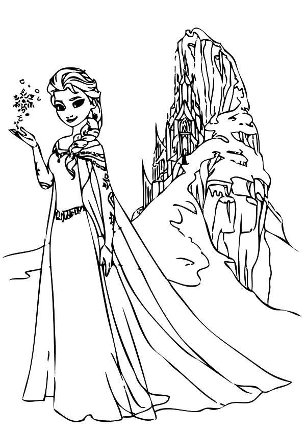 Queen Elsa And North Mountain Coloring Pages Coloring Sky Elsa Coloring Pages Cartoon Coloring Pages Frozen Coloring Pages