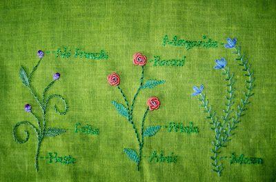 Jardim Bordado: Mostruário de pontos de bordado