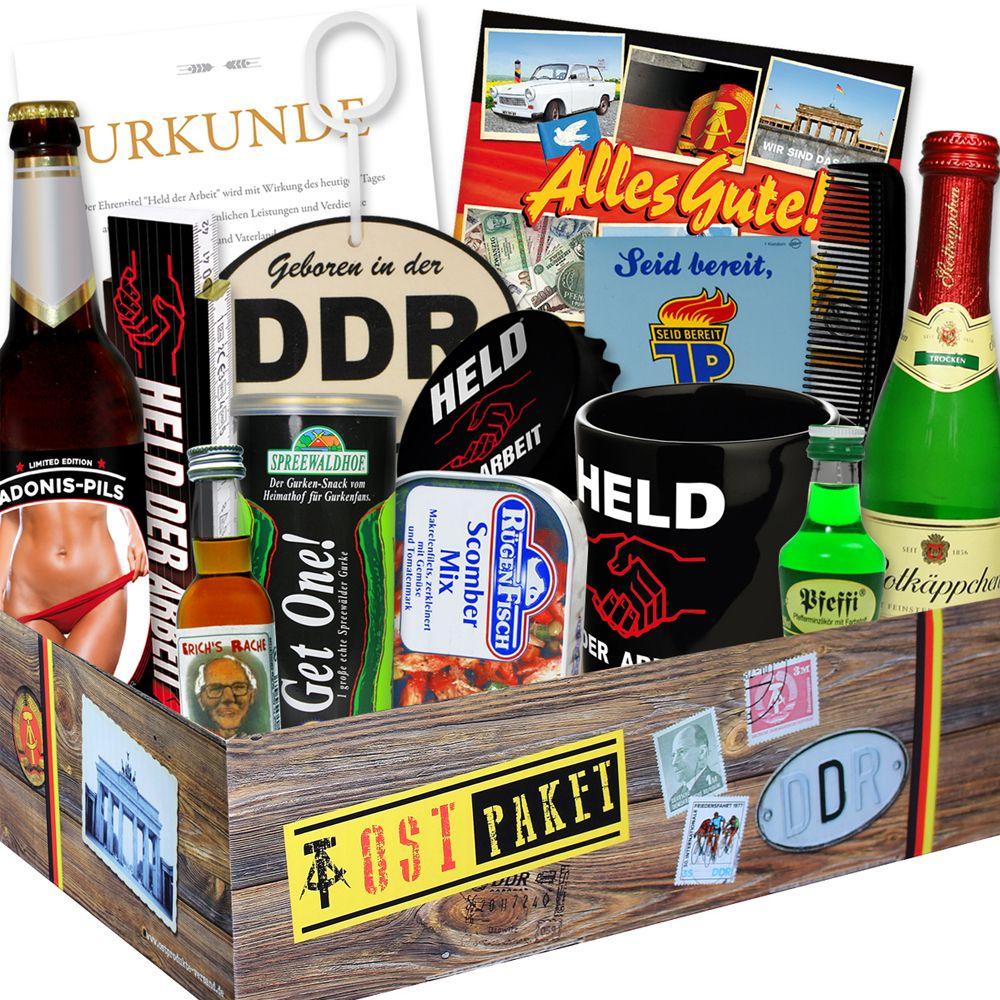 Die Männer-Box im Geschenkkarton ist ein witziges Geschenk für Männer mit einem Bezug zur ehemaligen DDR. Schönes Geschenk für Papa oder Opa!