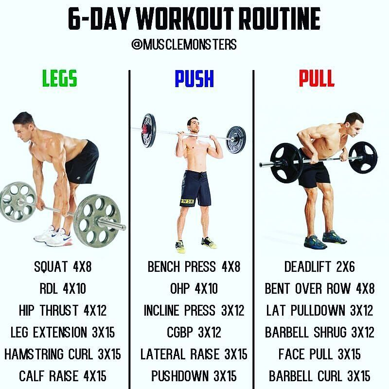 6-Day Muscle Building Workout By @musclemonsters _ Ill be ...