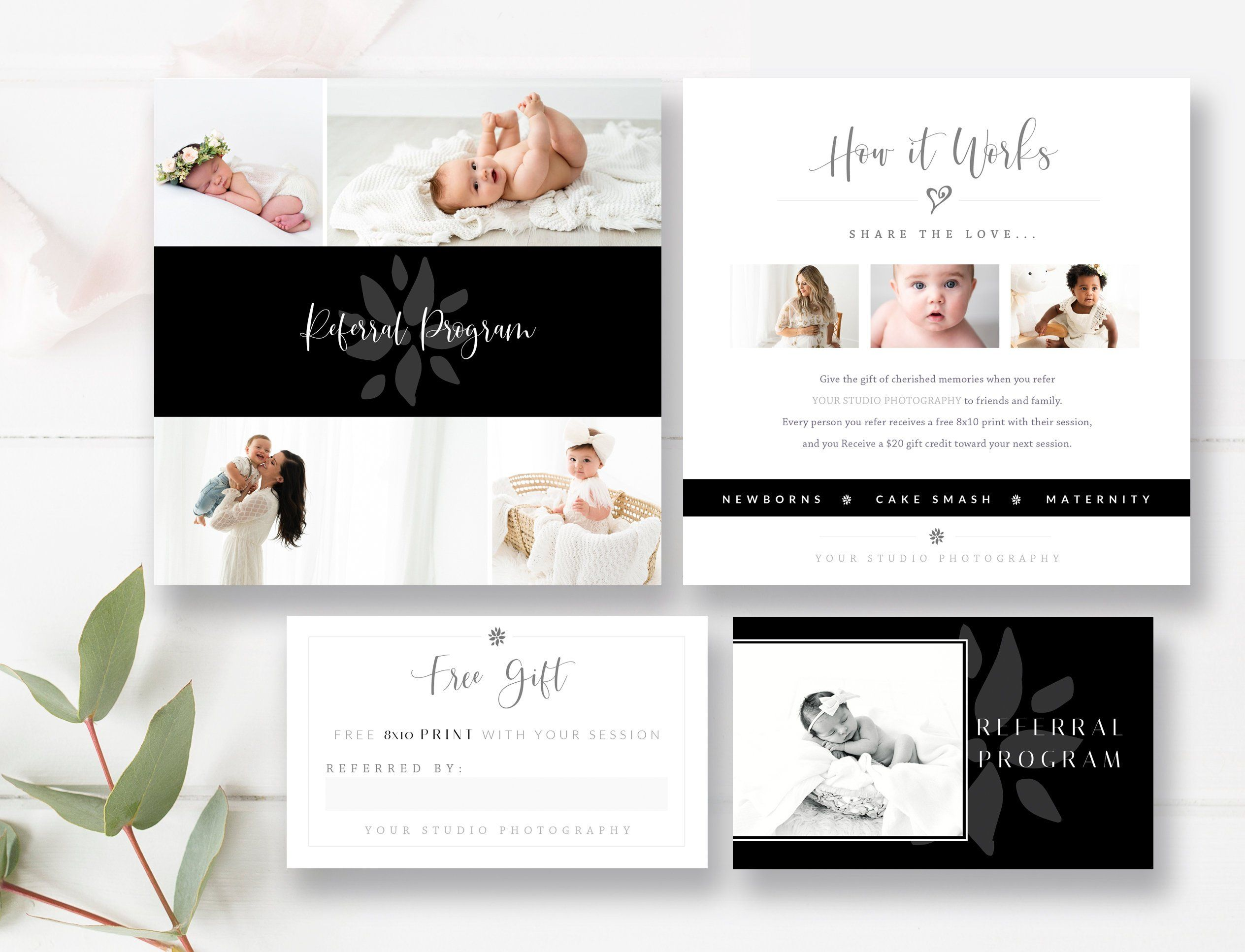 Newborn Photography Referral Card Matching Business Card Size Tell A Friend Referral Program Photoshop Templates Instant Download Card Template Card Templates Card Templates Free