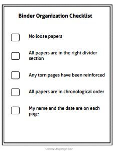 this simple binder organization checklist can be given to students