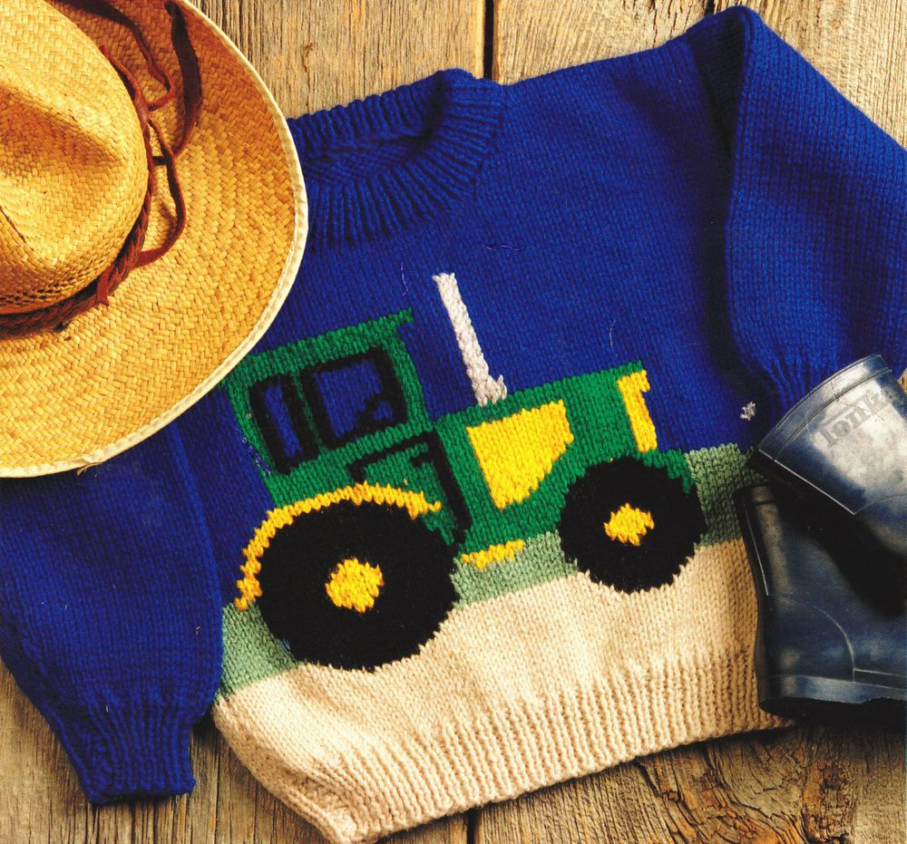 Tractor Farm Sweater Baby Children Knitting Pattern Aran Wool 22 ...