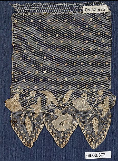 Fragment Date: 19th century Culture: French Medium: Needle lace Dimensions: L. 7 x W. 5 1/4 17.8 x 13.3 cm Classification: Textiles-Laces Credit Line: Purchase by subscription, 1909