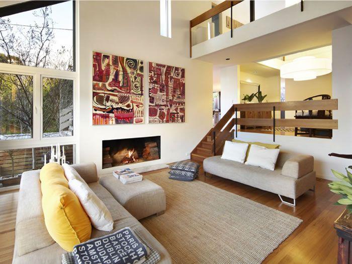 Split level living room interiors inspirations for Split level living room design