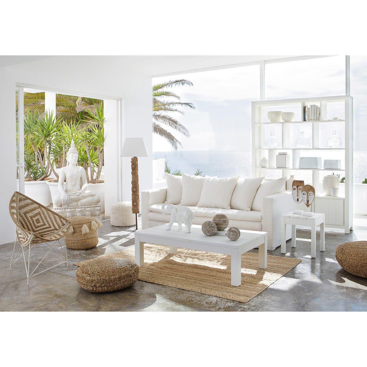 Table basse en bois massif blanche L 15 cm  Maisons du Monde