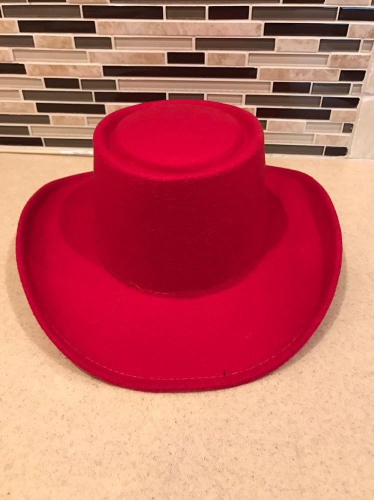 c93d9518618 RED Felt COWBOY GAMBLER HAT   Band - Small   Medium
