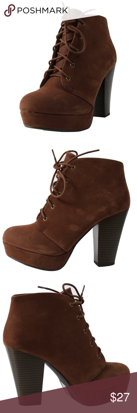 d644b96d319 Brown Faux Leather Lace Up Block Heel Ankle Boot Brown Faux Nubuck Leather  Lace Up Platform Stack Block Heel with platform 1